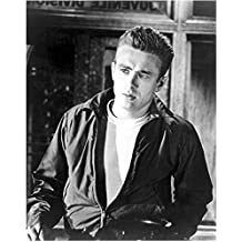 James Dean Leaning Against Bar Wearing Open Jacket 8 x 10 Inch Photo