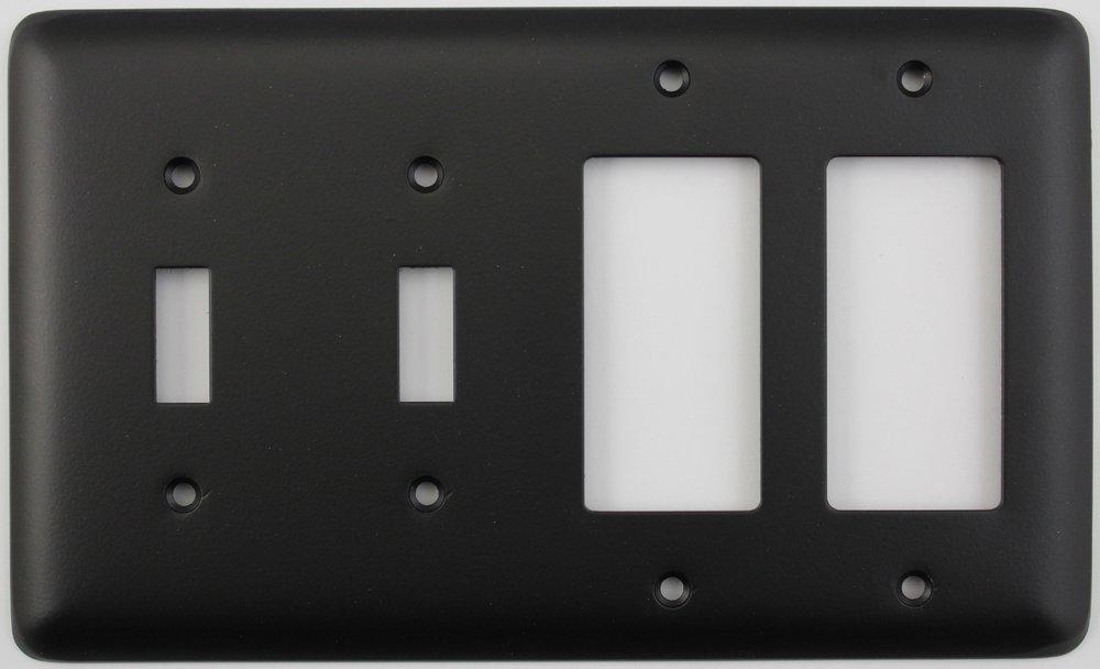 クラシックアクセントRoundedブラック4ギャングコンボスイッチプレート – 2ライトスイッチ2漏電遮断器オン/ロッカー開口部 B07DS394FC