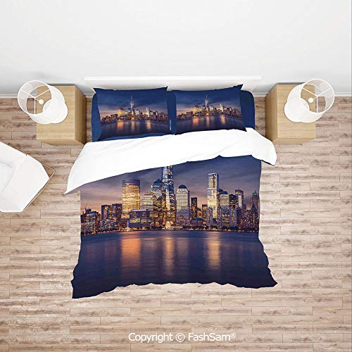 (FashSam Duvet Cover 4 Pcs Comforter Cover Set New York City Manhattan After Sunset View Picture with Skyline Reflection on River for Boys Grils Kids(Double))
