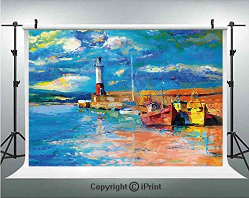 Art Photography Backdrops Oil Painting Tones Style Lighthouse and Boats on Sea Shore Town Coastal Charm Picture Decorative,Birthday Party Background Customized Microfiber Photo Studio Props,7x5ft,Mult