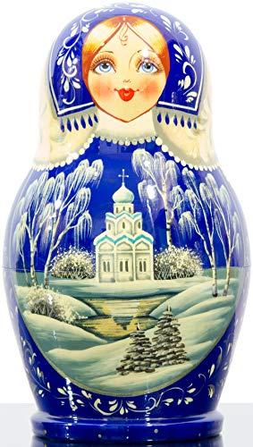 Russian Nesting Doll - Kirov - VJATKA - Hand Painted in Russia - Big Size - Wooden Decoration Gift Doll - Matryoshka Babushka (Style E, 8.25``(10 Dolls in 1)) by craftsfromrussia (Image #3)