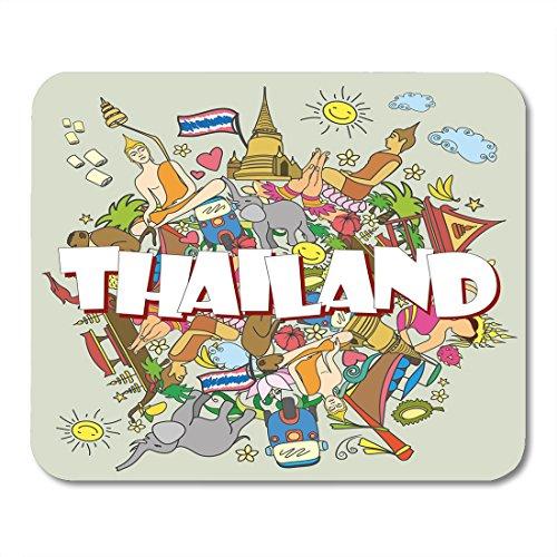 Nakamela Mouse Pads Elephant Travel Thailand Thai Color and Symbols Cartoon Animal Mai Mouse mats 9.5