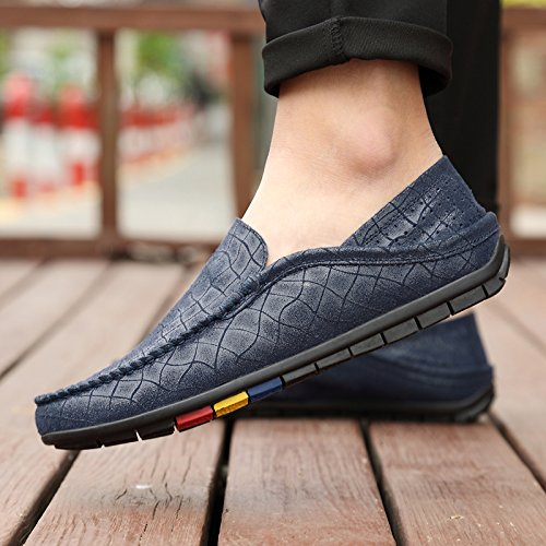 Penny Holes Leather Snug On Slip Abby Flat Mens Upper Bussiness Lightweight QZYYU Blue Loafers Concise Comfy resistant Moccasins Driving Classic Breathable 20172 Slip 78HwZwqxA