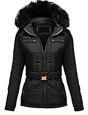 Luna Flower Women's Quilted Padding Hoodie with Fur Lining Zip Up Jackets