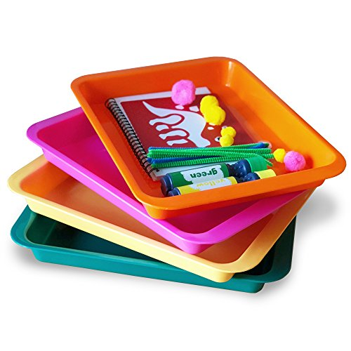 Set of 4 Kids Activity Plastic Tray - Art + Crafts Organizer Tray, Serving Tray, Great for Crafts, Beads, orbeez Water Beads, Painting and Montessori Work (Set of 4 - Pink Yellow Green Orange) by Dab and Dot Markers