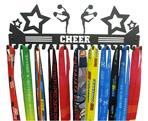 URBN Cheer Sports Medal Holder Display Rack Ribbon Hanger with 20 Hooks (Cheer Medal Hanger)