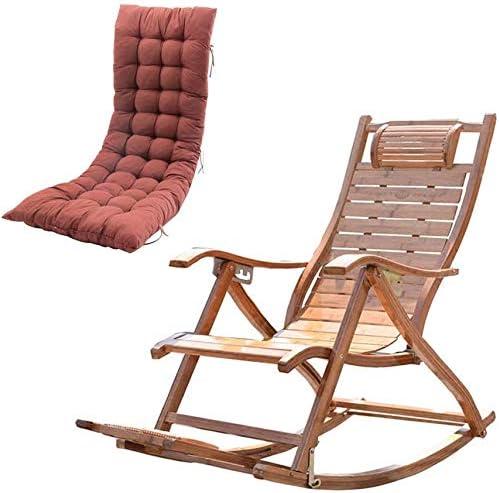 NO BRAND Tumbonas Jardin Mecedora Plegable de bambú balcón sillas de Ocio Silla Ajustable Relajado Ancianos con Respaldo Alto y Tabla de cojín de Masaje de pies Incluido: Amazon.es: Jardín