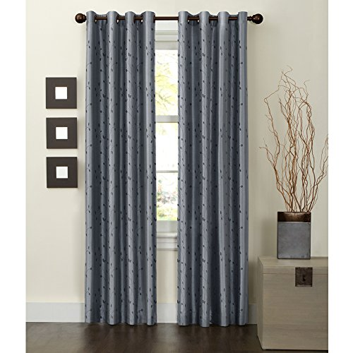 Maytex Jardin Embroidered Thermal Window Curtain, 54 by 84-Inch, Blue (Blackout Curtains Leaf)