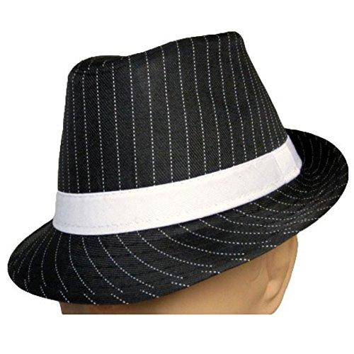 (MyPartyShirt Black Fedora White Pinstripe Hat)