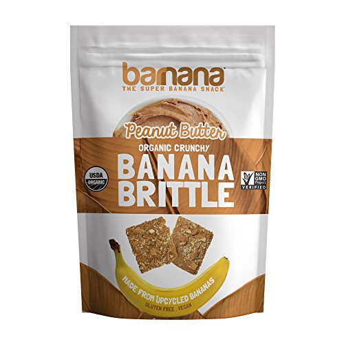 Barnana Organic Crunchy Banana Brittle - Peanut Butter, 3.5 Ounce - Healthy Vegan Cookie Style Dessert Snack - Made with Sustainable, Eco Friendly Upcycled Bananas