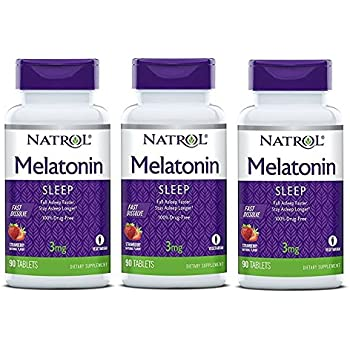 Natrol Melatonin Fast Dissolve Tablets, Strawberry Flavor, 3mg, 90 Count (Pack of