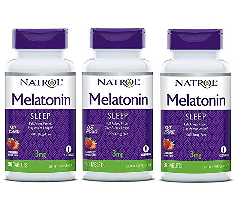 Amazon.com: Natrol Melatonin Fast Dissolve Tablets, Strawberry Flavor, 3mg, 90 Count (Pack of 3): Health & Personal Care