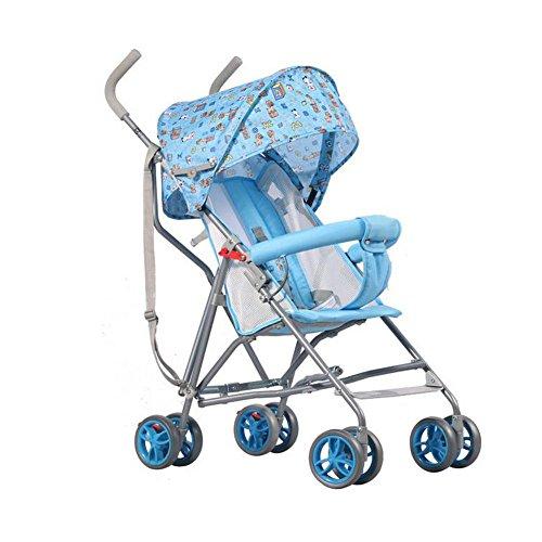 QXMEI Coche De Bebé Coche De Bebé De Dibujos Animados Ultra Ligero Sentado Carro Semi Sentado Cesta De Niños Simple,Blue