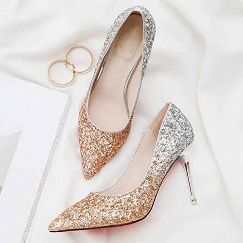 bodas 37 luz oro y de de cristal zapatos de fina tacones es dama el Matrimonio boda de con degradado de zapatos zapatos punta banquete con zapatos qRCnBFw