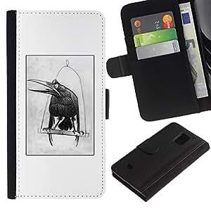 KLONGSHOP / Tirón de la caja Cartera de cuero con ranuras para tarjetas - Sketch Drawing White Bird - Samsung Galaxy S5 Mini, SM-G800, NOT S5 REGULAR!