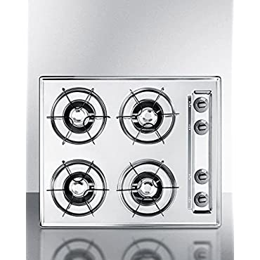 Summit ZNL03P 24 in. Gas Cooktop in Chrome with 4 Burners, Brushed chrome