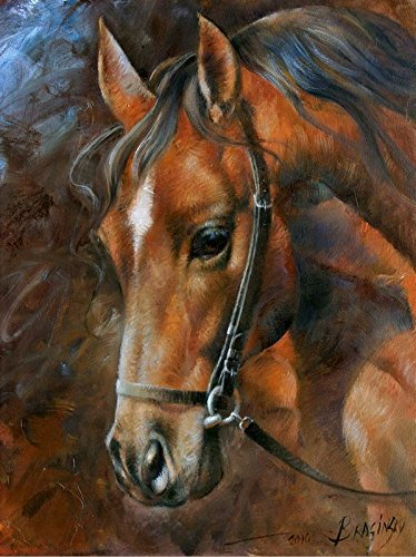 Y J ART head horse 3 western horse in sepia crista forest Modern Canvas Wall Art for Home and Office Decoration Oil Painting Print Art Animal on Canvas 60x80 CM Giclee Artwork for Wall Decor … (Horse Head Art)