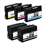 E-Z Ink (TM) Remanufactured Ink Cartridge Replacement For HP 932XL 933XL (2 Black, 1 Cyan, 1 Magenta, 1 Yellow) 5 Pack CN053AN CN054AN CN055AN CN056AN Compatible With Officejet 6100 Officejet 7100 Officejet 6600 Officejet 6700 Officejet 7610 Wide Format Printer