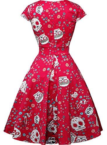 Fe Floral Verano De Vendimia Mujeres Rojo Fiesta De Vestido Calavera Azúcar xHg8wAq