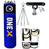 Onex 9 Pieces Heavy Filled Boxing Set 5FT Punch Bag Gloves Ceiling Hook Chain MMA Punching Training Water Proof Bags