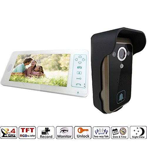 J-DEAL® 7 Inch Colorful LCD Screen Video Doorbell Video Door Phone Home Security Camera Monitor Intercom System Crystal Clear Picture Perfect Sound Quality Ultra-slim Design Nice and Luxurious Indoor Monitor 100 Degrees Wide Visual Angle Clear Night Vision and IP55 Waterproof Outdoor Camera - with Rain Cover (White)