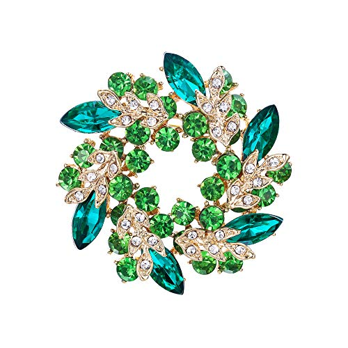 (EVER FAITH Austrian Crystal Wedding Flower Wreath Brooch Pin Green Gold-Tone)