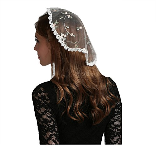 (Embroidery head covering flowers lace chapel cap V49 (Light color))