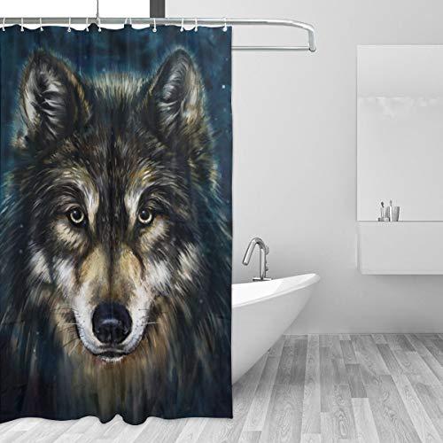 Warm-Tone Art Lobo Wolf Shower Curtain Stylish and