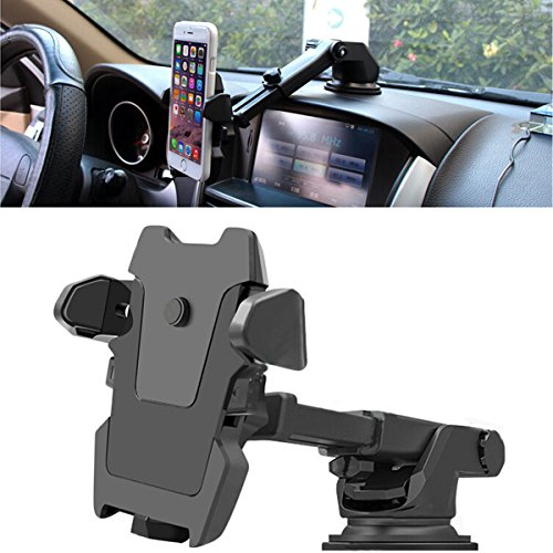 Phone Holder For Car Universal Dashboard 360°Rotation Windscreen Suction Cup Non-Slip Car Mount Cradle Dash Strong Sticky Gel Pad for IPhone X/8/8Plus/76s/5S,Samsung,Huawei,HTC and More