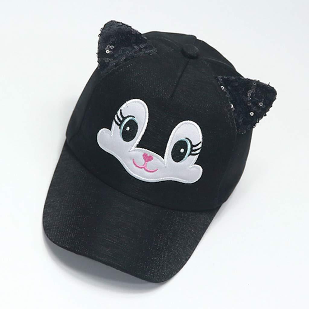 33daf66415c9ee Amazon.com: Yamally Summer Cap for Unisex Baby, Baby Boy Girls Hats Soft  Bunny Cartoon Sunhat Eaves Baseball Cap Sun Hat Beret Black: Clothing