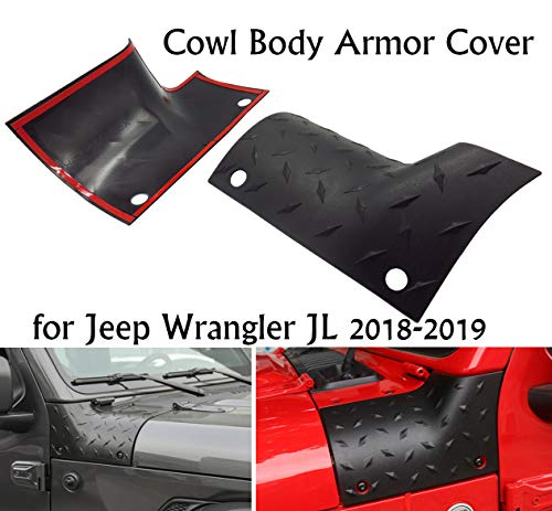 Cowl Body Armor Cover Sport Exterior Accessories Parts for Jeep Wrangler JL 2018-2019,1 pair,black