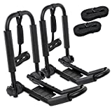 RaxGo Premium Kayak Roof Rack Set – Heavy-Duty J-Bar Carrier Holds Up to 165 Lbs. – Compatible with T-Slider Pre-Installed Roof Rack Bars & Cross Bars – Carries Your Canoe, SUP or Surf Ski – Foldable