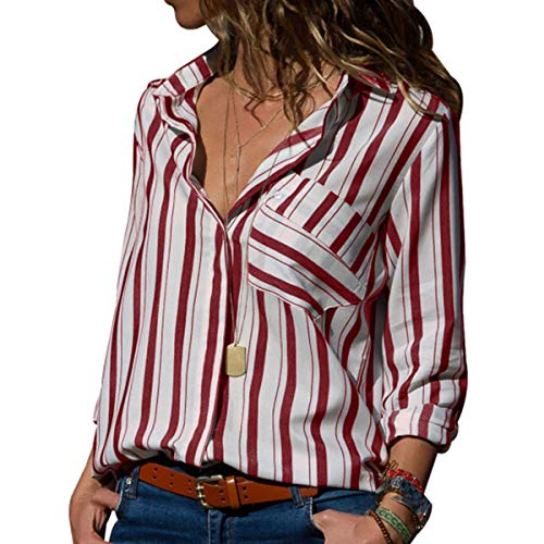 (MQ Women's V Neck Striped Shirts Roll Tab Sleeve Button Tops and Blouses Front Pockets ((US 18-20) XXL, Burgundy))