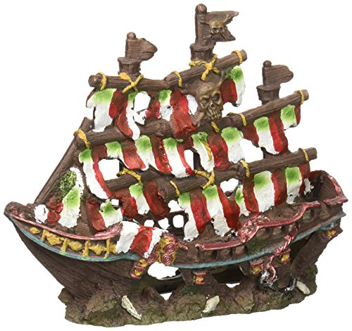 Penn Plax Striped Sail Shipwreck Aquarium Decoration Ornament Colorful Red and White Design 8.25 Inch