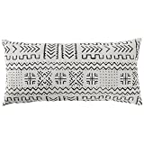 Rivet Mudcloth-Inspired Pillow, 12'' x 24'', Pale Gray