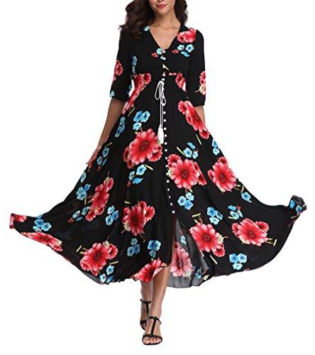 VintageClothing Womens Floral Maxi Dress W/ Sleeves Flowy Boho Beach Dress