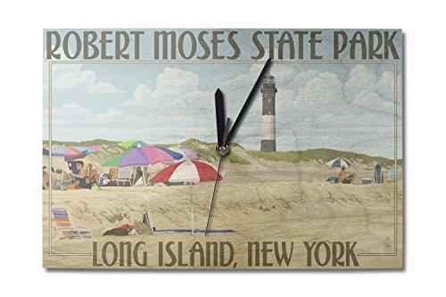 Lantern Press Robert Moses State Park, Long Island, New York (10x15 Wood Wall Clock, Decor Ready to Hang) ()