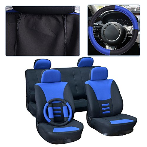 cciyu Seat Cover Universal Car Seat Cushion w/Headrest Covers/Steering Wheel/Shoulder Pads - 100% Breathable Car Seat Cover Washable Auto Covers Replacement fit for Most Cars(Black/Blue)