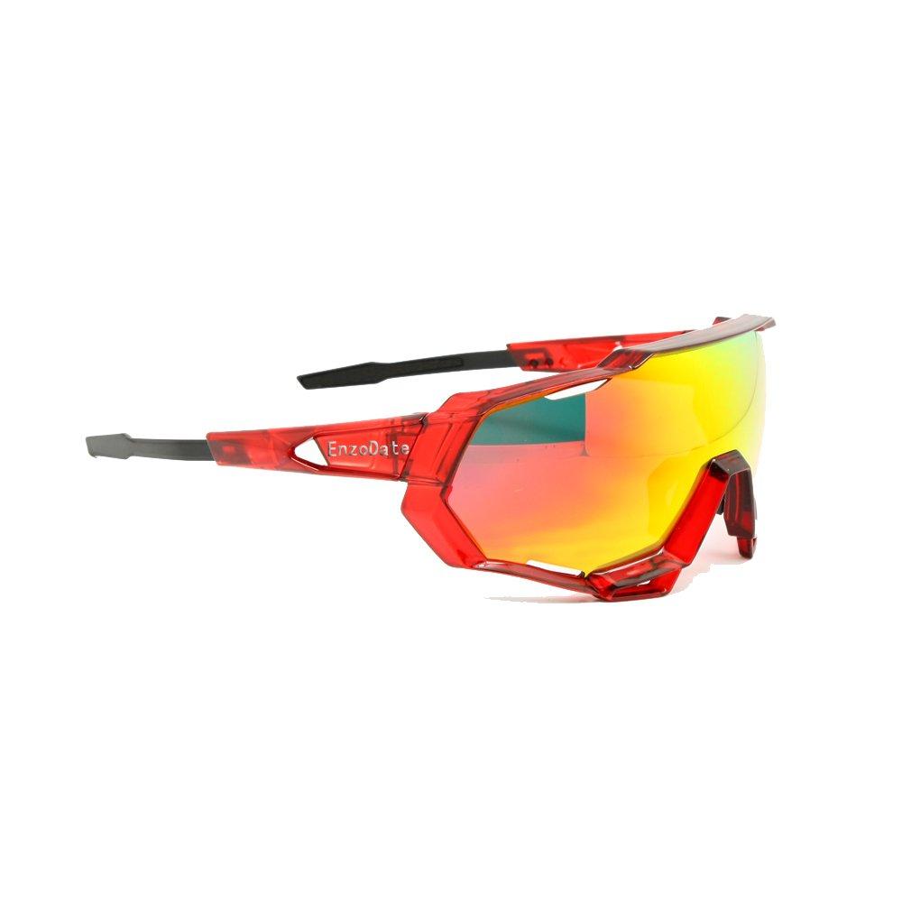 Cyclisme lunettes de soleil UV400 polarisé 3/4 Lens Kit descente course motocycliste lunettes de course porter avec casque sports de plein air (bleu noir, 5 lens (1 transition + 1 polarisée))