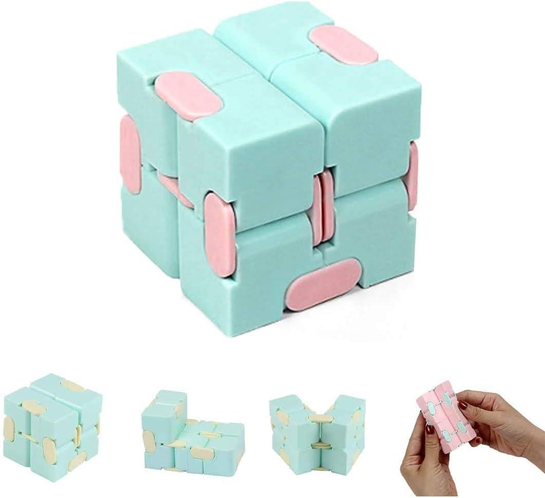Infinity Cube Fidget Puzzle Flip Toy Adecuado para aliviar el estrés, juguete de dedo Fidget juguete de mano para ADD, TDAH, ansiedad, autismo, adultos y niños (azul claro)