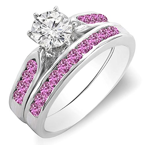 Pink Sapphire White Gold Jewelry Set - Dazzlingrock Collection 14K White Gold Round Pink Sapphire & White Diamond Ladies Bridal Engagement Ring Set (Size 5.5)