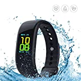 Yeartown Fitness Tracker, Activity Tracker OLED Color Screen Watch Smart Wristband with Heart Rate Test, IP67 Waterproof Sports Bracelet with Pedometer, Steps, Mileage Trails, Calorie Monitoring etc