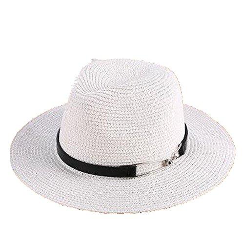 aobriton sombrero de sol mujer Hombre Unisex playa de paja Panamá sombrero  Chapeau viaje día festivo ee261a68fe2
