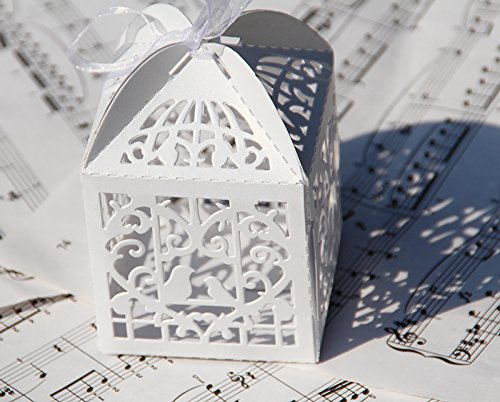 60PCs Wedding Favor Box Love Bird Candy Bag Chocolate Gift Box Bridal Baby Shower Cubic (Style #2 (3