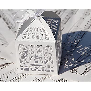 60PCs Wedding Favor Box Love Bird Candy Bag Chocolate Gift Box Bridal Baby Shower Cubic (Style #2 (3  x 3 ))