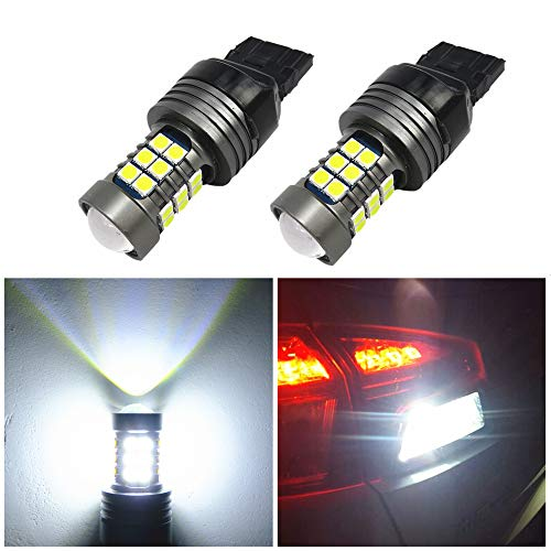 WLJH 2pcs 7440 T20 LED Bulbs 12-24V Super Bright 1000 Lumens 3030SMD Canbus Error Free Replacement for Backup Reverse Tail Brake Turn Signal Lights