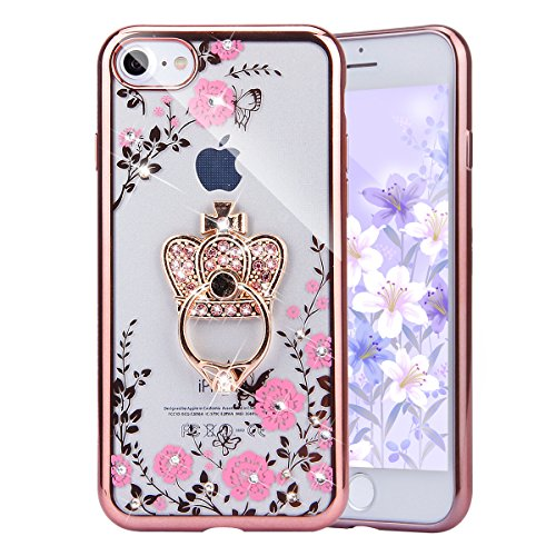 PHEZEN iPhone 8 Case,iPhone 7 Case, Pink Flower Butterfly Bling Crystal Rhinestone Diamond Rose Gold Plating Frame Clear Back TPU Bumper Case with Crown Ring Kickstand for iPhone 8 /iPhone 7 ()