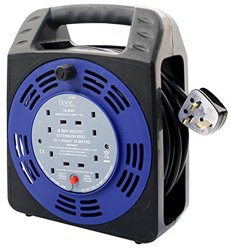 EXTENSION LEAD CABLE REEL 25 METRES 4 WAY SOCKET SAFETY CUT OUT RESET BUTTON 13A by Elpine