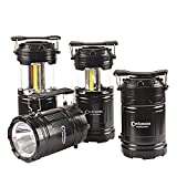 LED Camping Lantern - 4 Pack Portable Outdoor COB Camping Lantern with LED Torch Flashlight, Water Resistant Collapsible Tent Light with Adjustable Hook for Hiking,Emergencies,Hurricanes,Outages(Batteries Not Included)