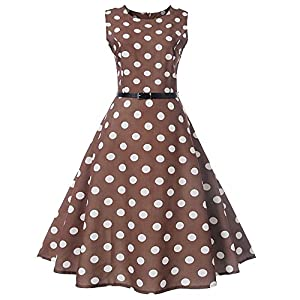 Long Dresses for Women,Women Vintage Dot Printing Sleeveless Casual Evening Party Prom Swing Dress